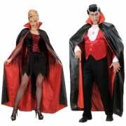 Halloween cape zwart/rood
