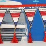 Decoratie mini vlaggenlijn Nederland 60 cm