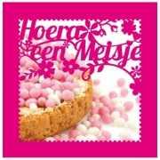 Roze kaart Hoera een meisje