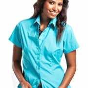Turquoise damesblouse met korte mouwen