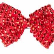 Pailletten strikje rood op speldje