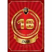 Decoratie poster 16 jaar rood en goud
