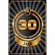 Decoratie poster 30 jaar zwart en goud