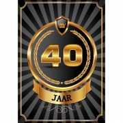 Decoratie poster 40 jaar zwart en goud