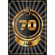 Decoratie poster 70 jaar zwart en goud