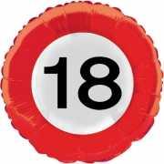 18 jaar thema verkeersbord folie ballon
