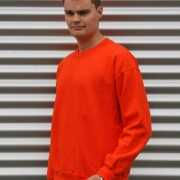 Oranje basic heren sweater