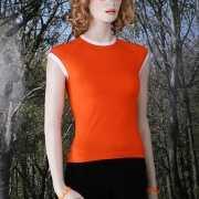 Oranje dames shirt mouwloos