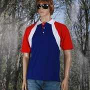 Poloshirt rood/wit/blauw heren