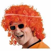 Oranje feestpruik met krullen