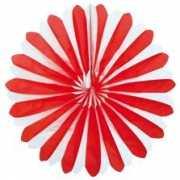 Waaier rood wit decoratie 35 cm