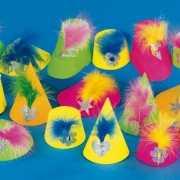 Party hoedjes met veer van karton