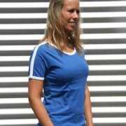 Dames tshirts blauw met wit randje