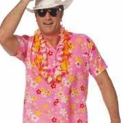 Roze hawaii shirts met bloemen