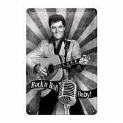 Metalen poster Muurdecoratie Rock n Roll Baby 20 x 30 cm