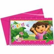 Uitnodigingen Dora van karton 6 stuks