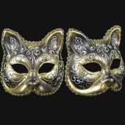 Venetiaanse maskers kat goud zwart