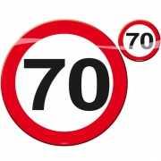 Onderzetters in de vorm van stopborden 70 jaar