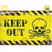 Geel deurbordje Keep Out met schedel