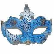 Blauw/gouden carnavals oogmasker