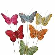 Decoratie vlindertjes 6 stuks