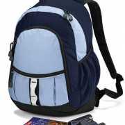Twee tinten blauwe rugtas schooltas 16 liter