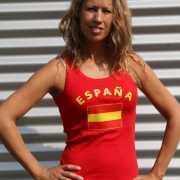 Rood mouwloos shirt met Spanje print