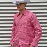 Cowboy outfit roze blouse voor heren
