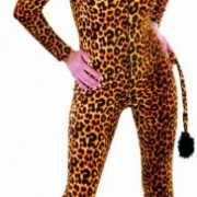 Dames luipaarden jumpsuit met staart