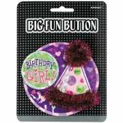 Birthday girl button met feesthoedje