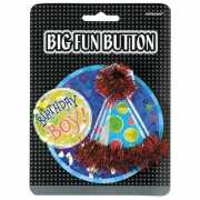 Birthday boy button met feesthoedje