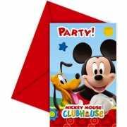 Mickey Mouse themafeest uitnodigingen 6 stuks
