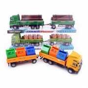Speelgoed vrachtauto met hout lading