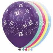 Gekleurde helium ballonnen 21 jaar