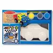 Raceauto spaarpot met verf en penseel