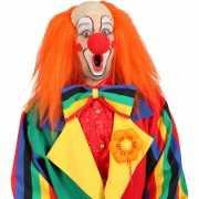 Clown pruiken met lang oranje haar