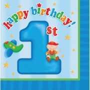 Blauwe 1 jaar thema servetten 16 stuks