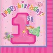 Roze 1 jaar thema servetten 16 stuks