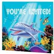 Uitnodigingen voor oceaan feestje 8 stuks