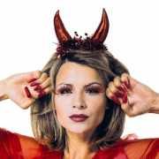 Duivel tiara rood metallic