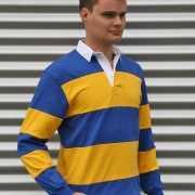 Blauw met geel gestreept shirt