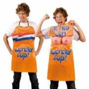 Oranje keukenschort met tieten