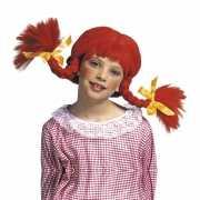 Rode Pippi Langkous pruik voor kinderen