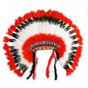 Luxe indianentooi rood wit zwart