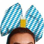 Oktoberfest tiara blauw met wit