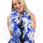 Luxe boa blauw met wit 180 cm