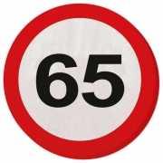 Verkeersbord servetten 65 jaar