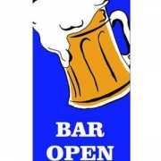 Blauwe vlag met bier pul Bar Open