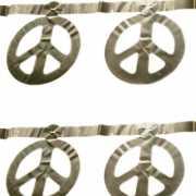 Zilveren peace teken slinger 5 m