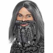 Piraten pruik met baard grijs